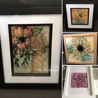 Large framed floral watercolour embroidery