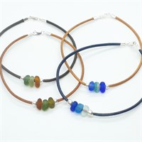 Leather & sea glass anklet