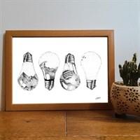 Lightbulbs Pointillism Art Print