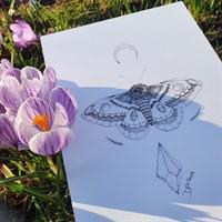 Lunar Moth Pointillism Art Print