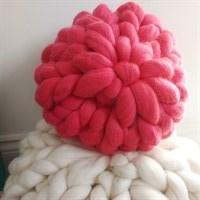 Small and Large merino wool round cushions