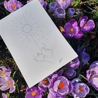Mountains And Sun Pointillism Art Print