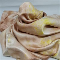 Naturally Bundle Dyed Silk Scarf close up of wrapped scarf
