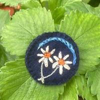 Navy Flower Brooch