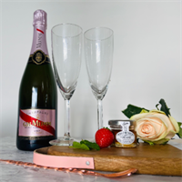 Board with champagne