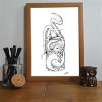 Octopus In Bottle Pointillism Art Print
