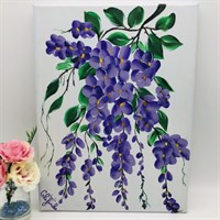 Wisteria One Stroke Painted Canvas