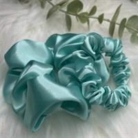 Pastel Collection Mint Satin Scrunchies