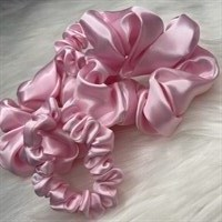 Pastel Collection Pink Satin Scrunchies