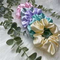 Pastel Collection Satin Scrunchies - Lemon, Mint, Lilac, Duck Egg and Baby Pink
