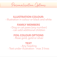 Personalised family hands foil print - options