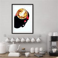 Photographic Art Print 'Coffee in Red' shown framed in a room setting