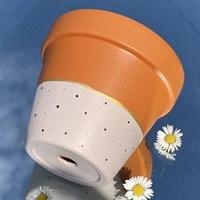 Pink beige polka dot 11cm plant pot