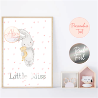 Pink Bunny Personalised Foil Print