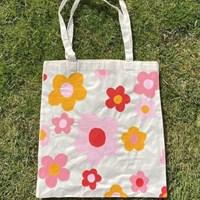 Pink Daisy 100% Organic Cotton Tote Bag