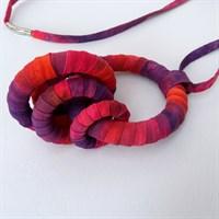 Purple and pink fabric pendant