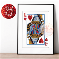 Queen of Hearts Red Foiled Print