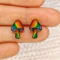 Rainbow Mushroom Stud Earrings