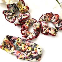 Red Floral Scrunchies | Headband | Eco