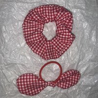 Red Gingham School Scrunchy and Bow