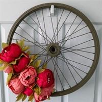 Red peony bike wheel wreath