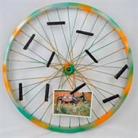 Repurposed Bike Wheel Photo Display