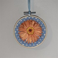 Ribbon Embroidery Gerbera on wooden hoop Orange Gerbera on Baby blue Cotton