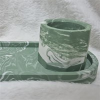 Sage Green Accessory Tray And Pot Set