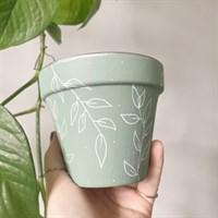 Sage Green Leaf 11cm Terracotta Planter