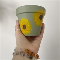 Sage Green Sunflower Plant Pot