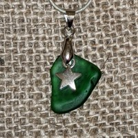 Sea glass necklace with heart charm gallery shot 8