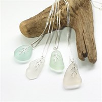 Sea glass pendant and sterling chain