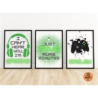 Set Of 3 Grey Green Gaming Gamer Prints