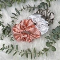 The Blush Pink, White and Beige satin scrunchies