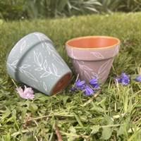 Set of two pastel 8cm terracotta planter gallery shot 8