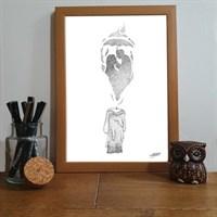 Sheltered Love Pointillism Art Print