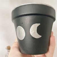 Silver Moon Phase Celestial Plant Pot