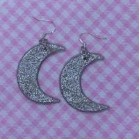 Silver Starlight Crescent Moon Earrings