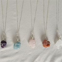 Silver Wire Wrapped Crystal Necklace