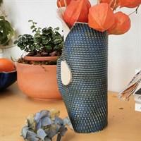 Single buttoned blue ceramic vase other side gallery shot 6