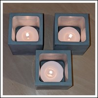 Overlook Of Square Concrete Candle Holder