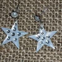 Star drop earrings green/white/silver gallery shot 3