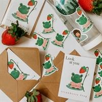 Strawberry Frog Greeting Card w/ Sticker