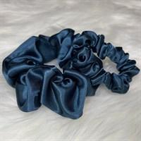 Teal Silky Feel Satin Hair Scrunchies