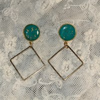 Turquoise/gold drop earrings gallery shot 14