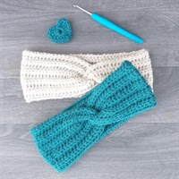 Twisted knot crochet headband - Parchment & Teal