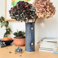 Two Buttoned Blue Ceramic Vase