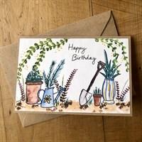 Watercolour gardeners birthday card