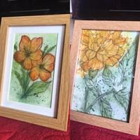Watercolour painting line art flowers