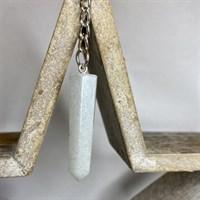 White glitter crystal pendulum keyring